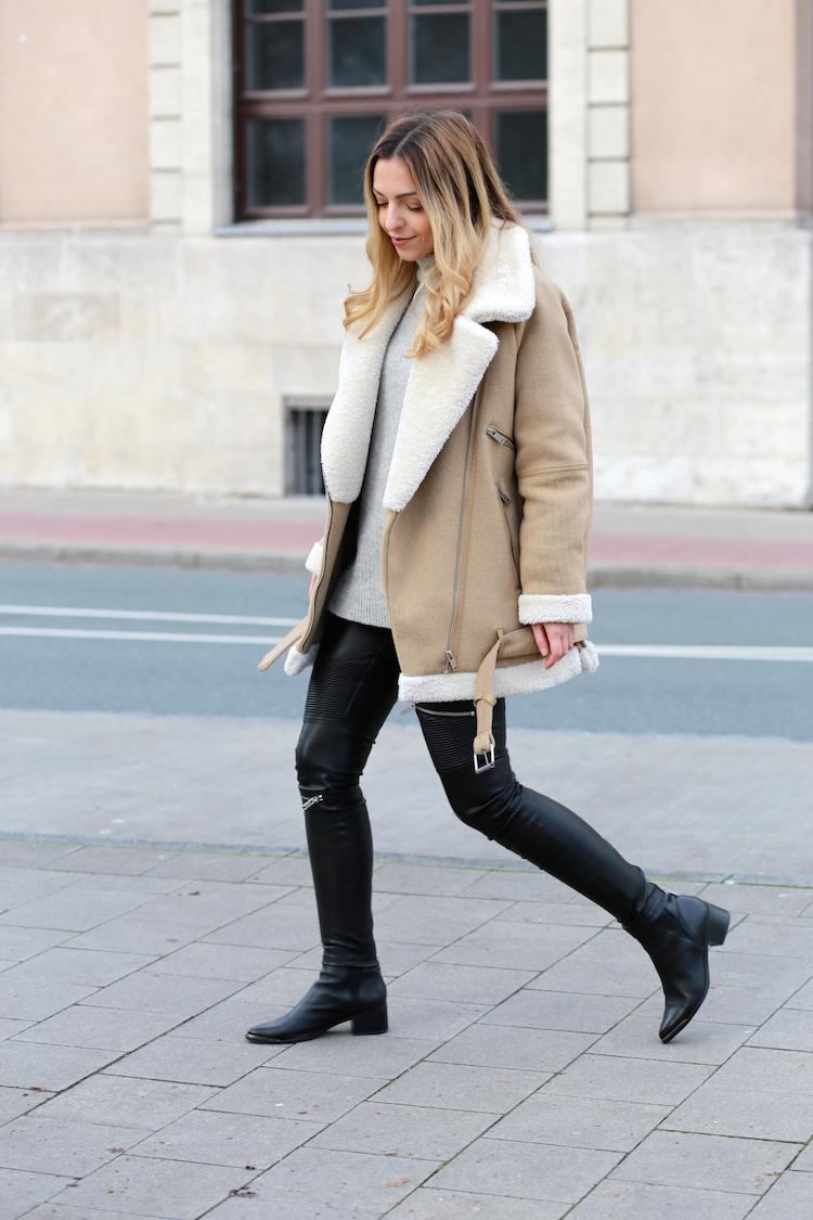 Shearling leather jacket womens zara