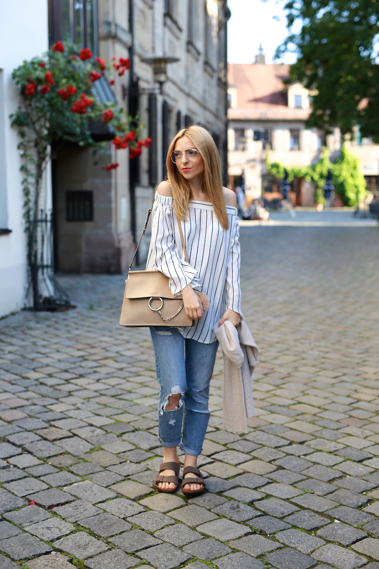 Want Get Repeat Blog Chloé Faye Birkenstock Arizona Off Shoulder