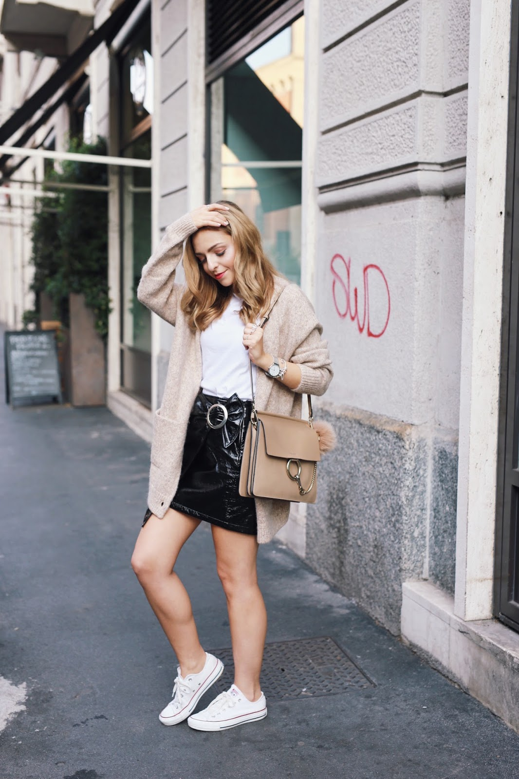 Milan Street Style Vinyl Skirt Outfit