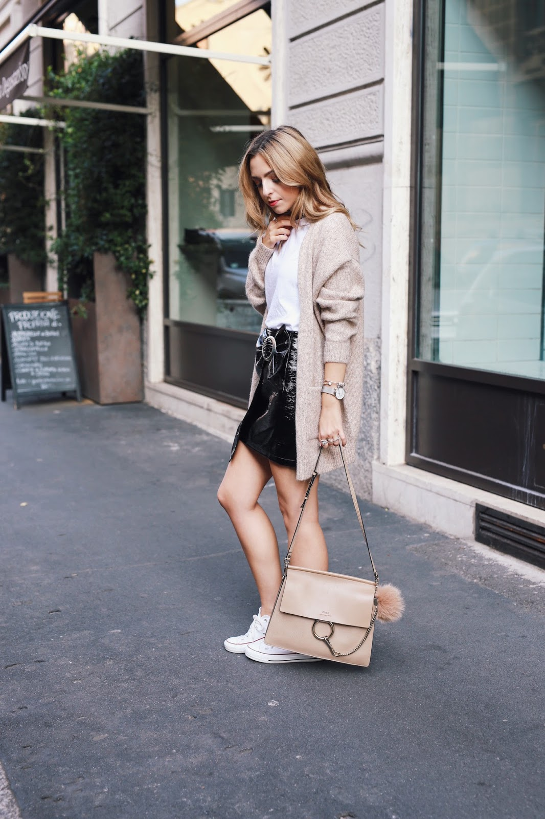 Milan Fashion Week Street Style Vinyl Skirt Outfit 07 Want Get Repeat