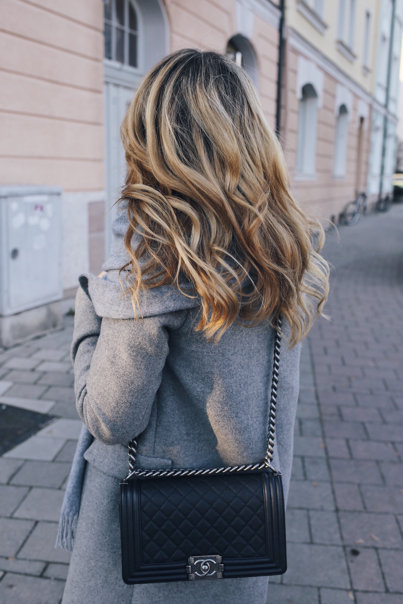 Grey Layering Winter Outfit with studded Boots Want Get Repeat Blogger Street Style