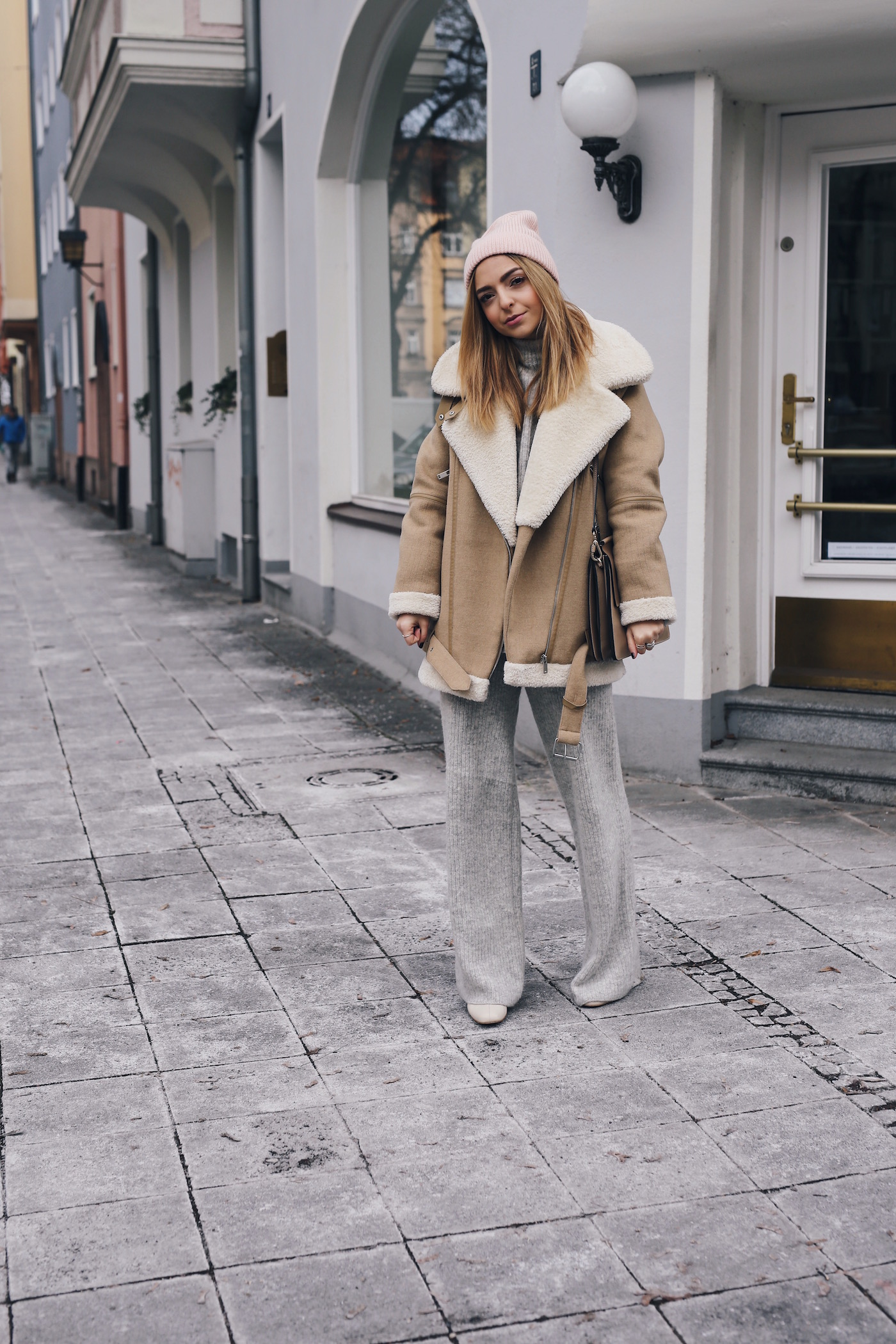 Knit Two Piece Pink Cap Zara Shearling Jacket Outfit Street Style Want Get Repeat