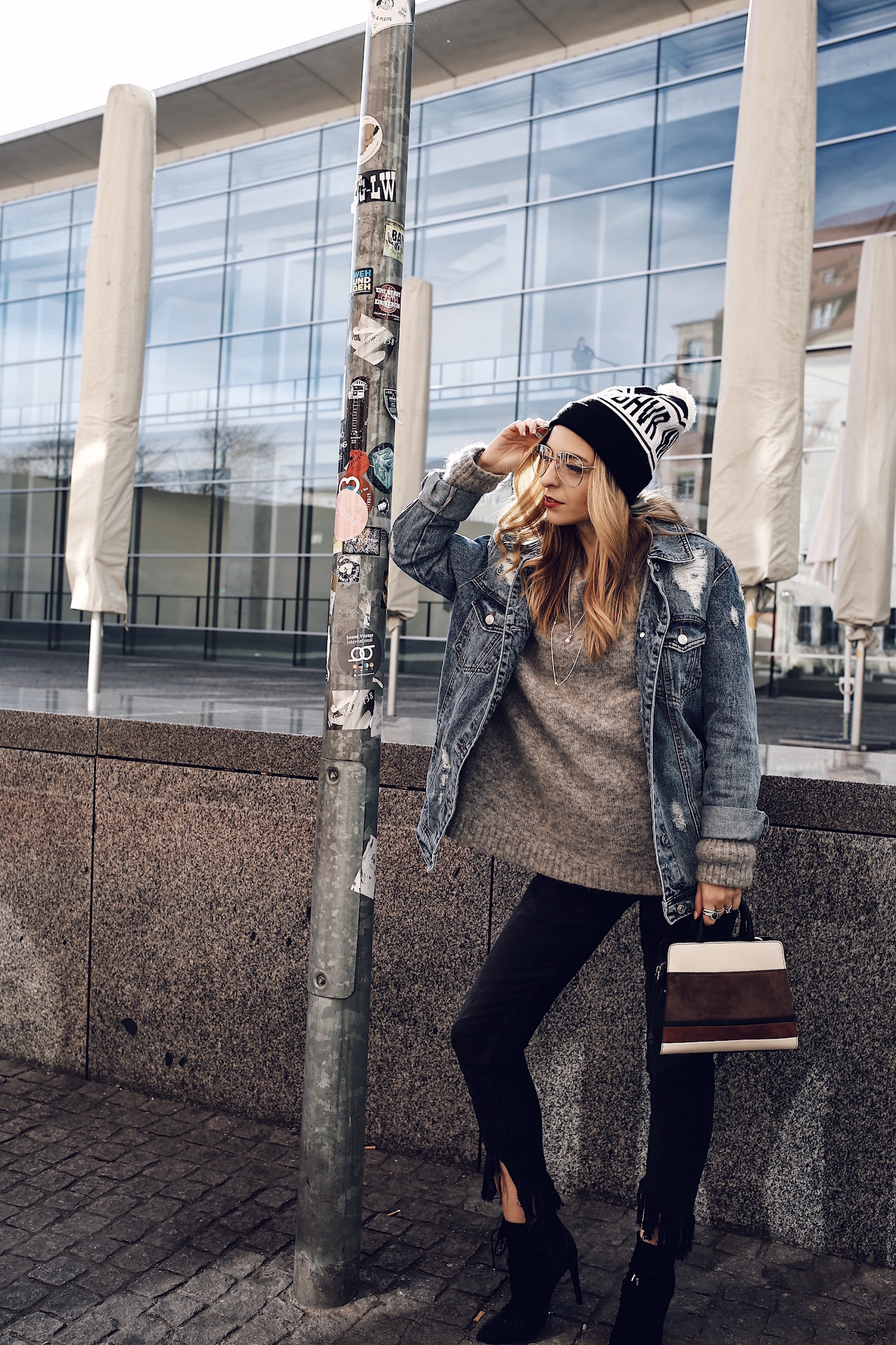 Beanie Denim Jacket Stilettos Outfit Want Get Repeat Blog