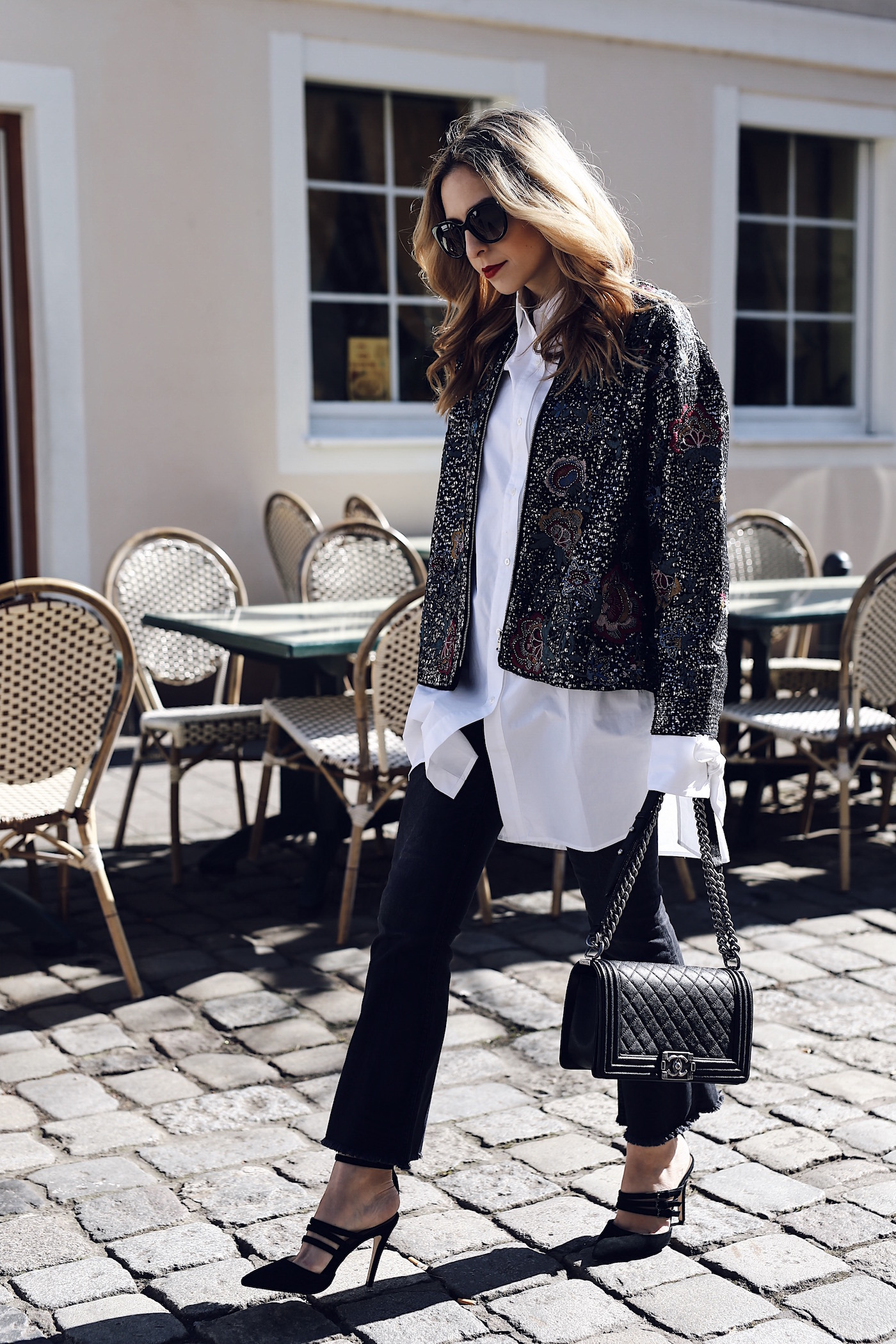 Monochrome Spring Outfit with Embroidered Bomber Jacket