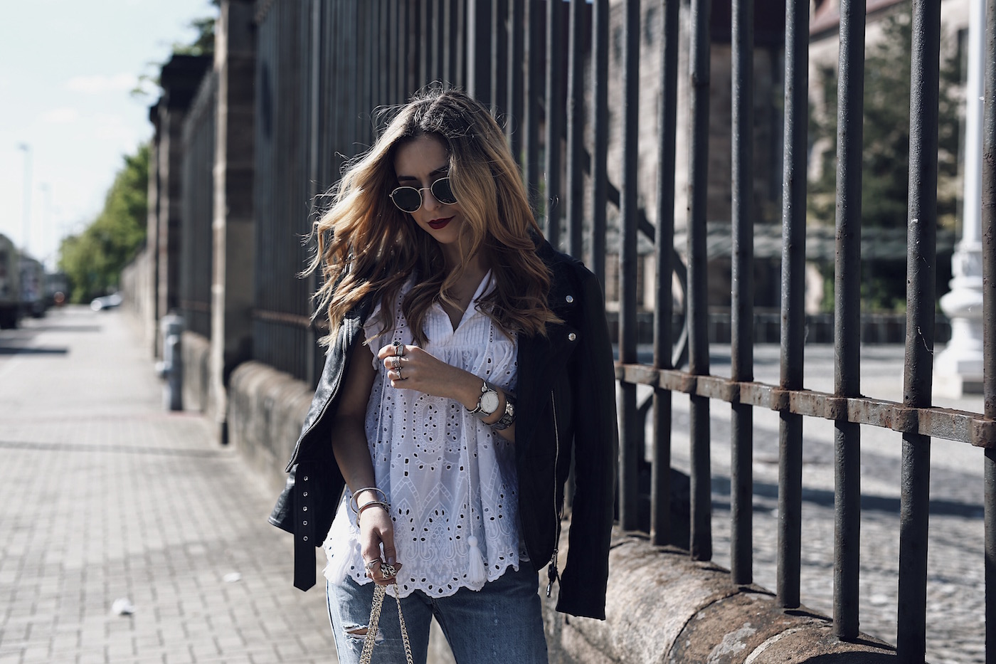 Lace Up Espadrilles Outfit with Openwork Blouse Levi's 501 CT and J.W. Anderson Pierce Bag
