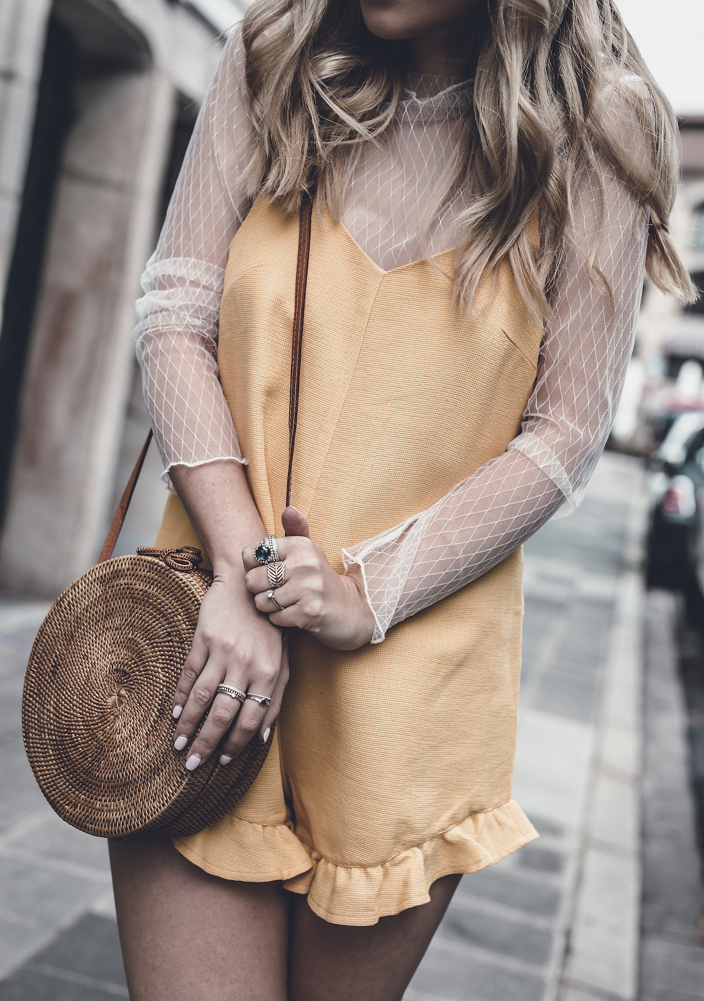 Goodbye letter to summer last summer outfit street style 2017 Yellow Playsuit Jumpsuit Jumpsuit Vergegirl
