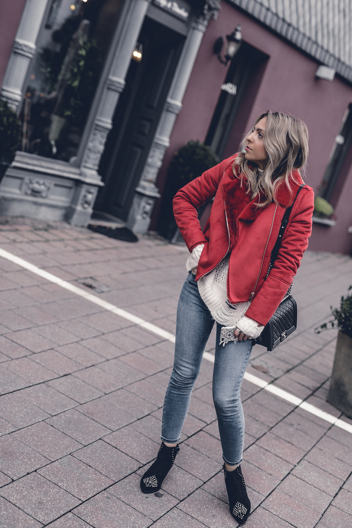 Red Jacket River Island Outfit 2017 Street Style Winter Casual Look | Want Get Repeat Fashion Blog