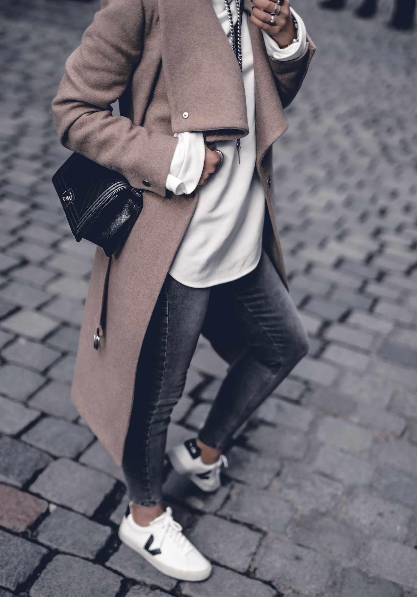 Fall Outfit 2017 Women Cute Preppy Edgy Classy Sweaters Street Styles, Camel Coat, Hoodie, Sneakers | seen on WantGetRepeat.com