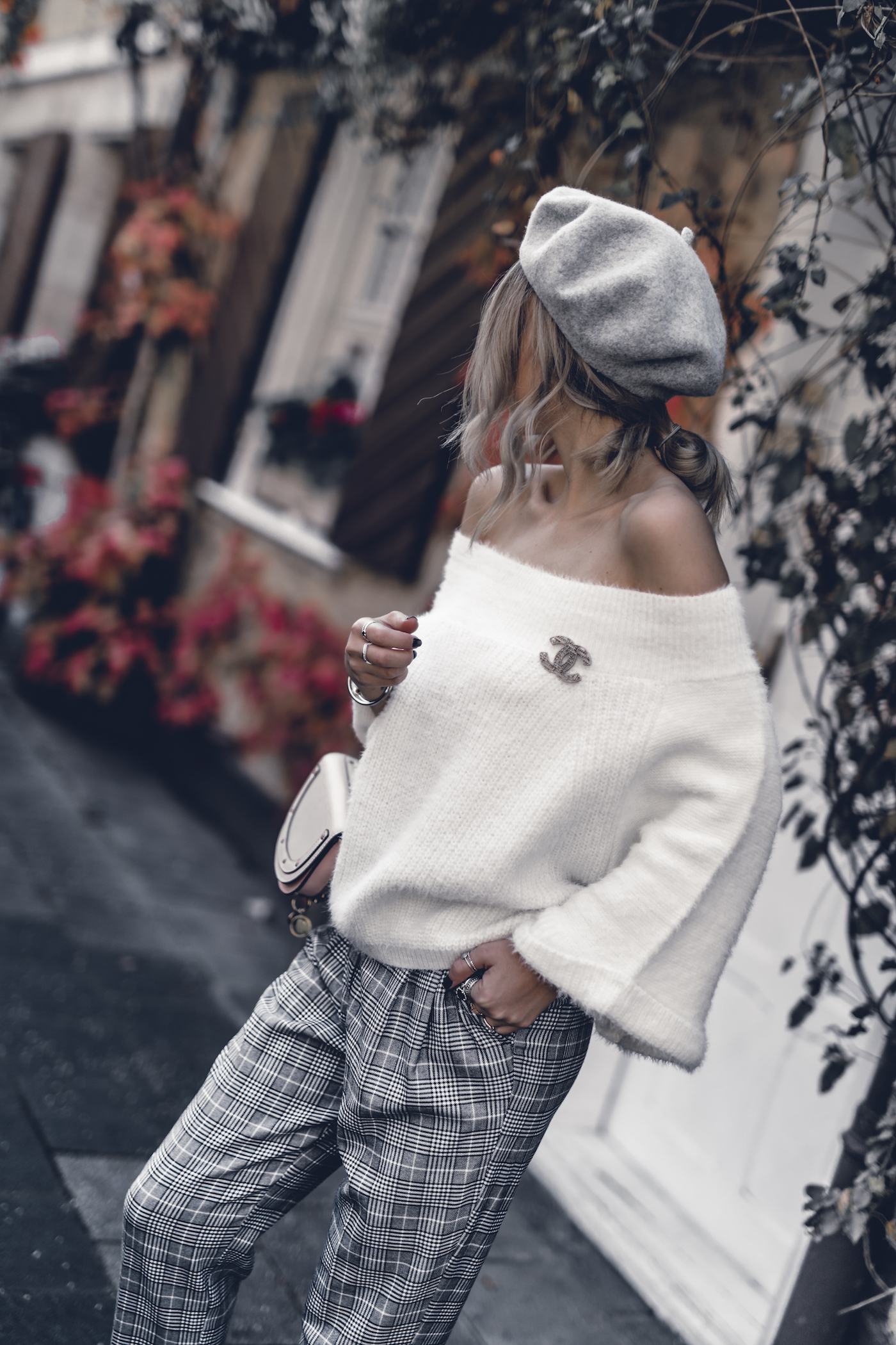 Fall Outfit 2017 Women Cute Preppy Edgy Classy Sweaters Parisian Street Styles, OffShoulder Sweater, Checked Pants | seen on WantGetRepeat.com