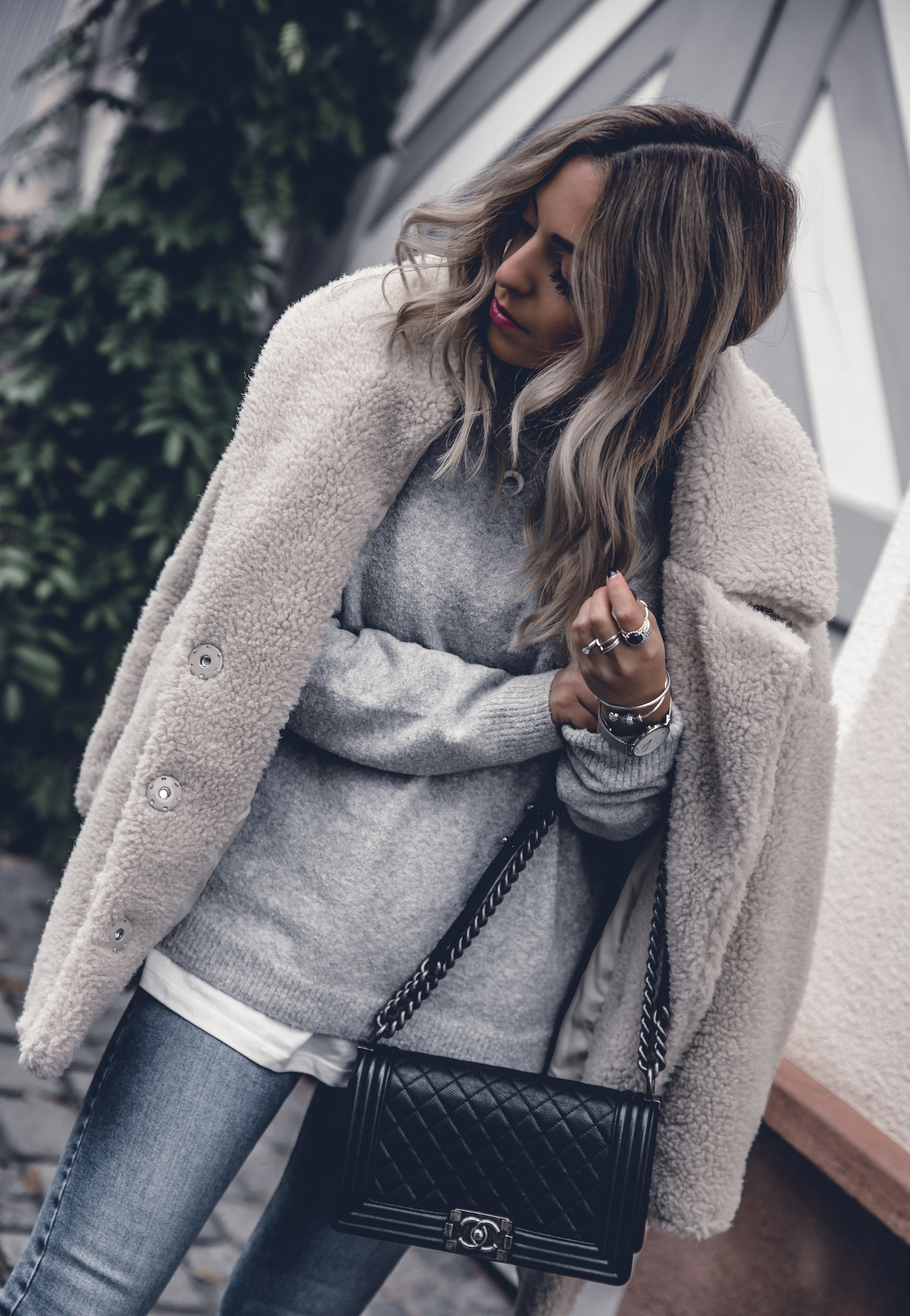 Fall Outfit 2017 Women Cute Preppy Edgy Classy Sweaters Street Styles, Teddy Coat, Chanel Boy Bag, White Boots | seen on WantGetRepeat.com