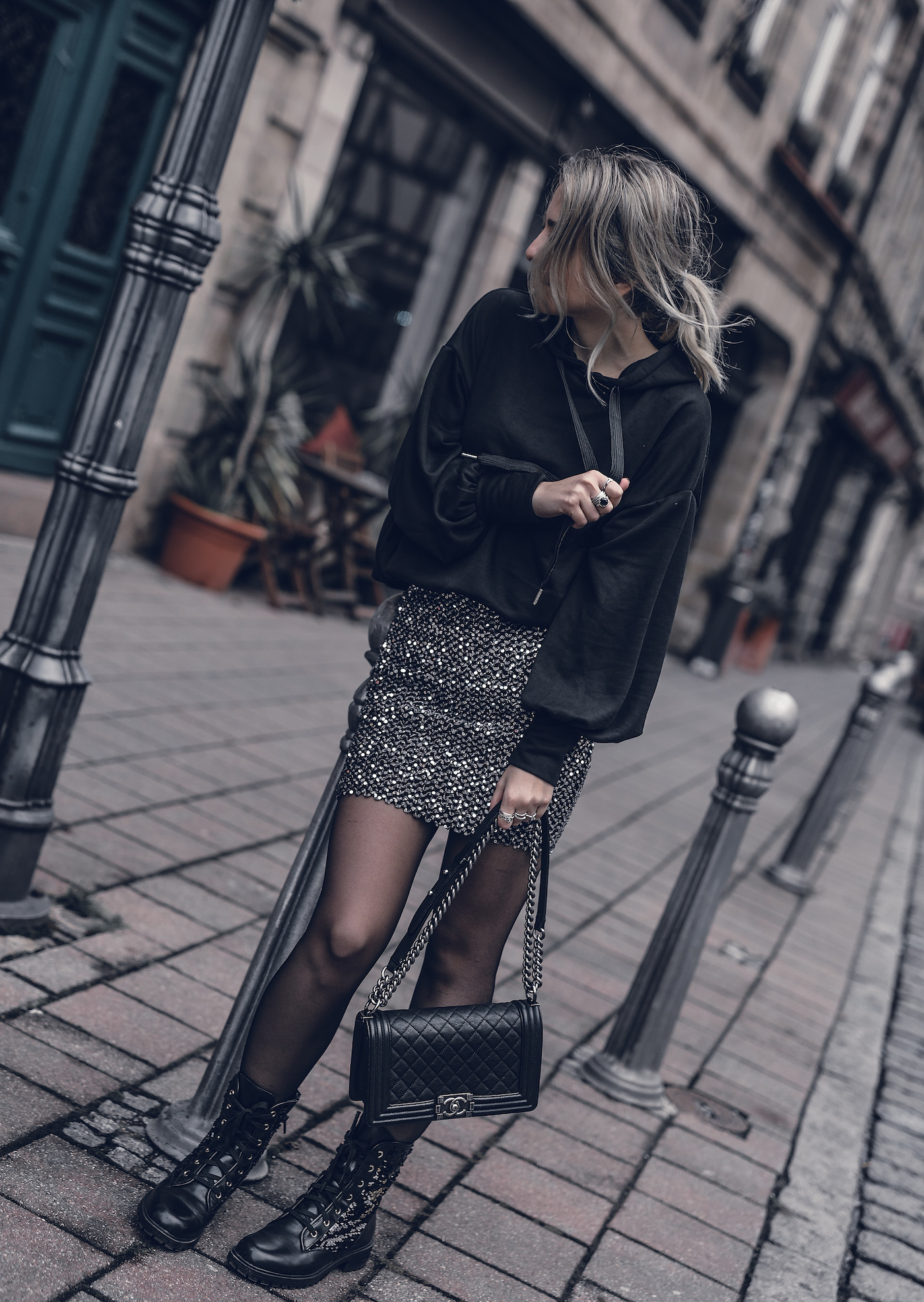Festive Christmas Outfit 2017 Casual Sparkle Holidays New Years Women Fashion | seen on WantGetRepeat.com Fashion Blog