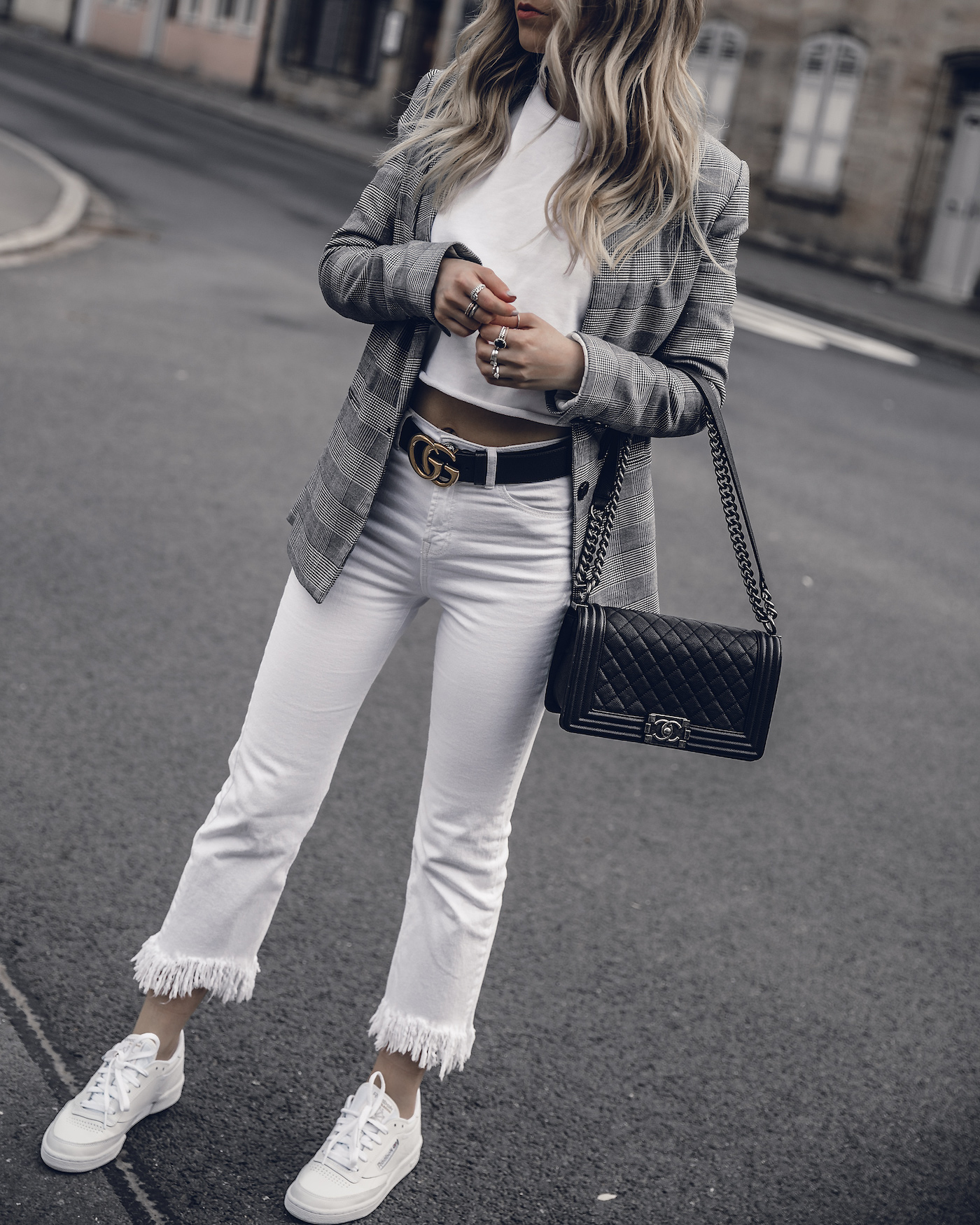 Spring Outfit 2018 White Denim Checked Blazer Cropped Sweatshirt Chanel Boy Bag Caviar | seen on Want Get Repeat Fashion Blog