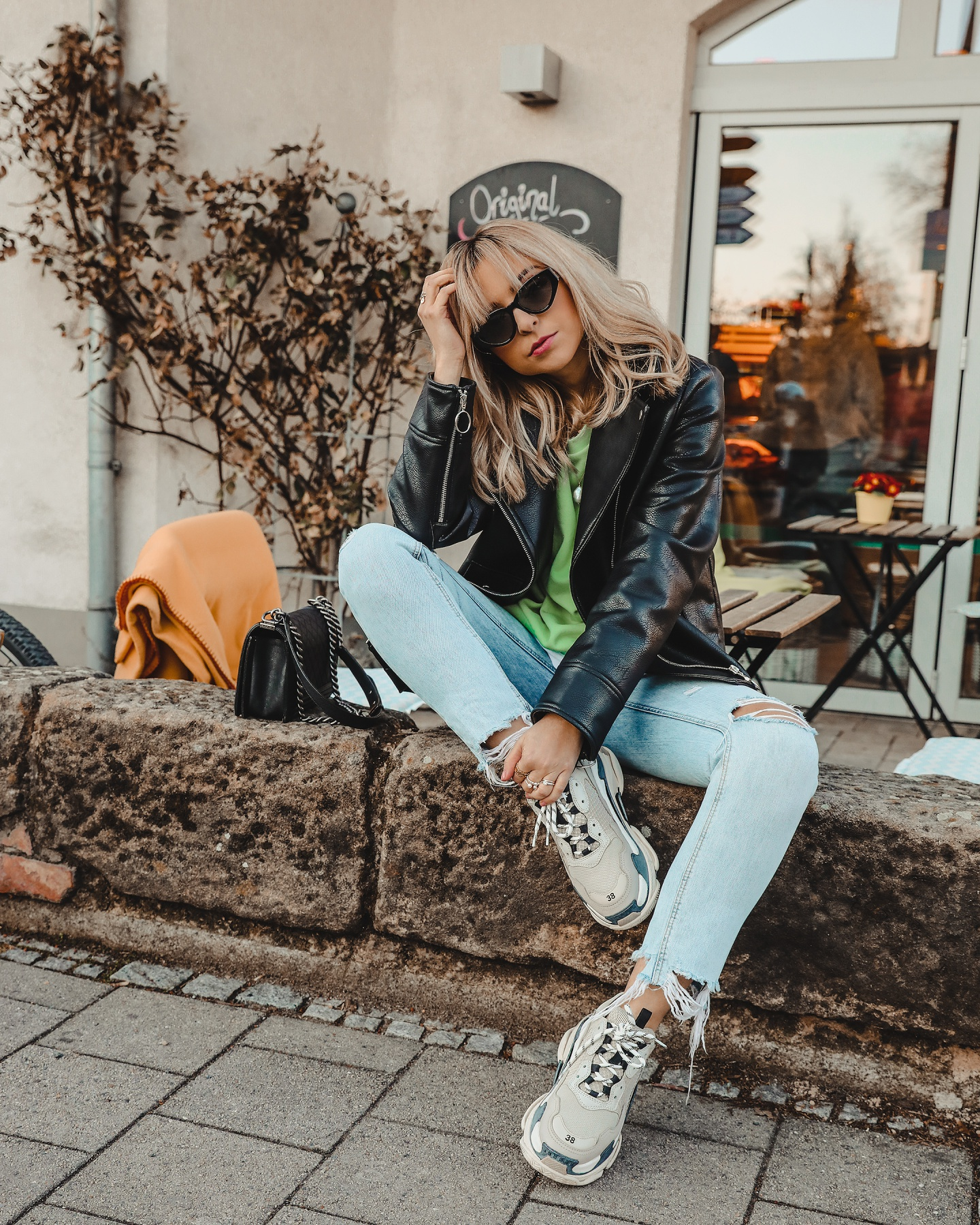 e8c71fe73512 Balenciaga Triple S Outfit Idea 2  Neon and some leather